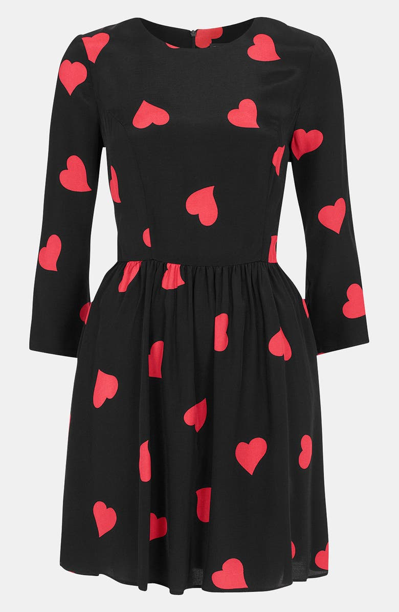 TOPSHOP Heart Print Skater Dress, Main, color, 001