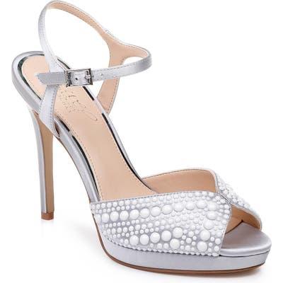 Jewel Badgley Mischka Shane Embellished Platform Sandal, Metallic