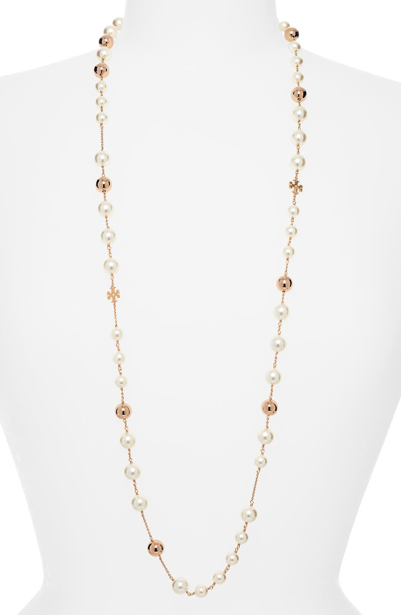 TORY BURCH Imitation Pearl Rosary Necklace, Main, color, TORY GOLD / PEARL