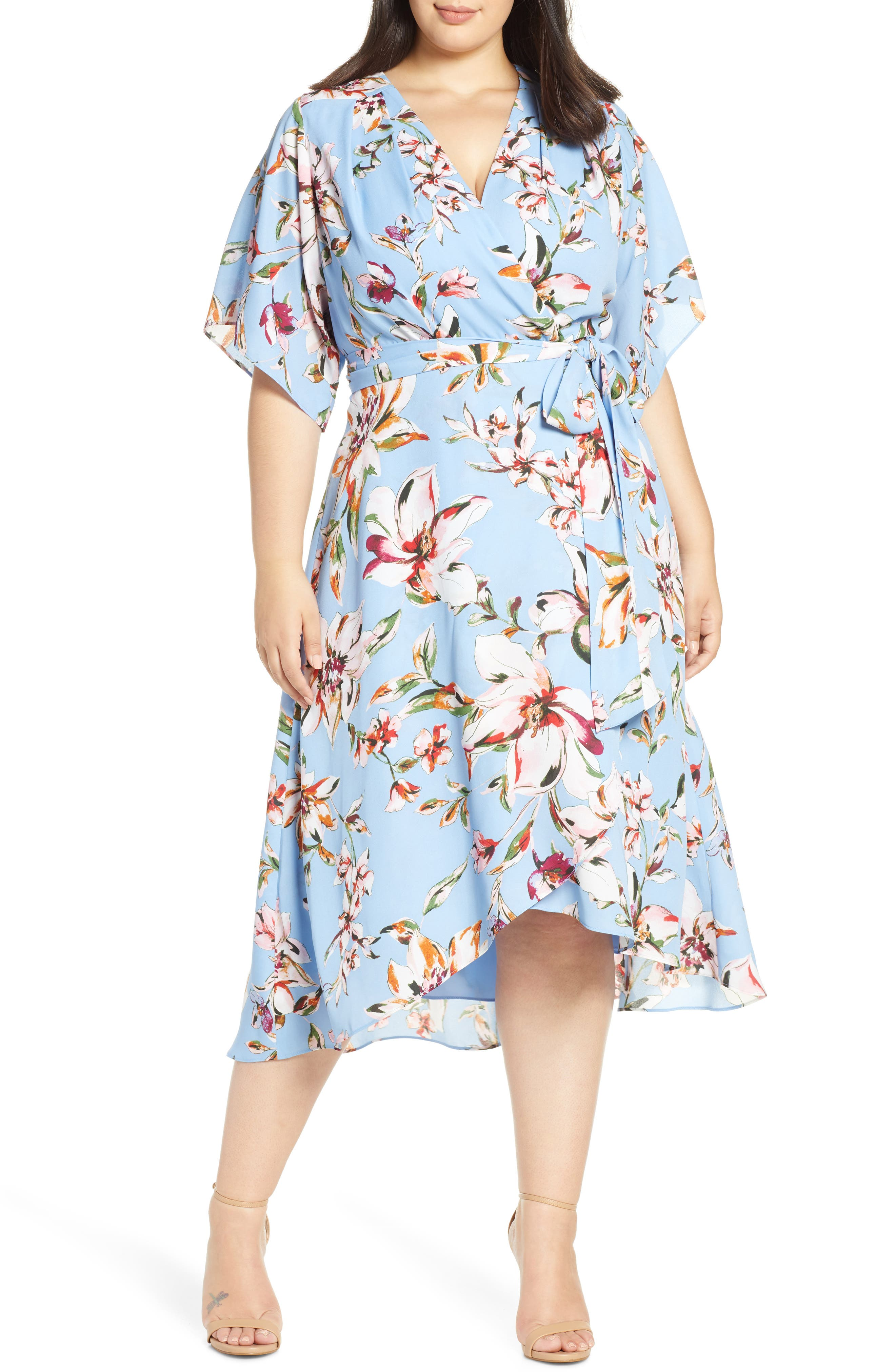 Indian Summers Inspired Clothing Plus Size Womens Tahari Faux Wrap Midi Dress $148.00 AT vintagedancer.com