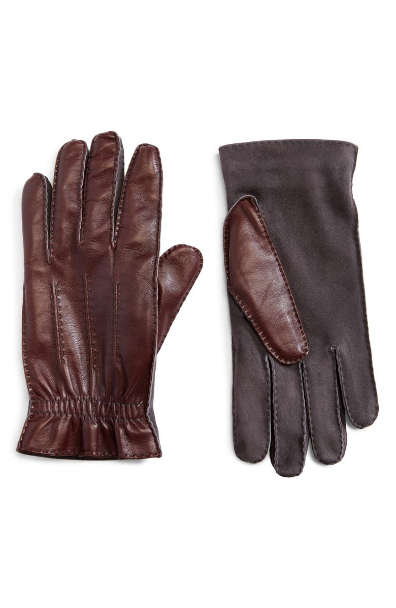 BRUNELLO CUCINELLI Leather Gloves, Main, color, BROWN