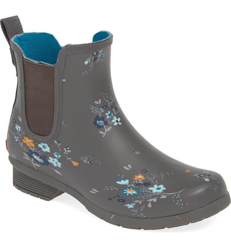 CHOOKA Bainbridge Caroline Waterproof Chelsea Rain Boot, Main, color, CHARCOAL RUBBER