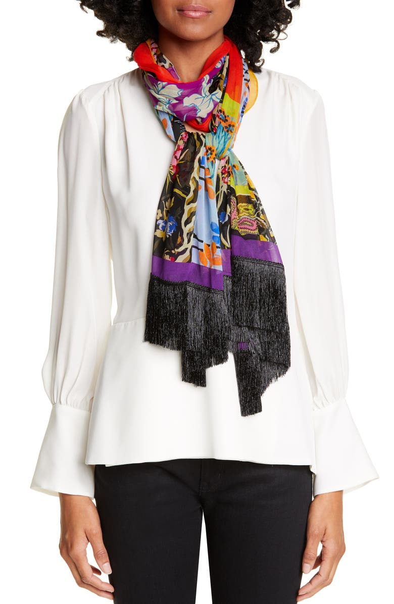 ETRO Delhy Patchwork Fringe Silk Scarf, Main, color, RED