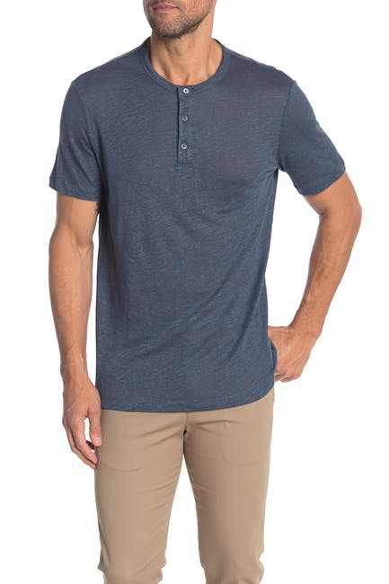Image of Theory Essential Slub Linen Short Sleeve Henley