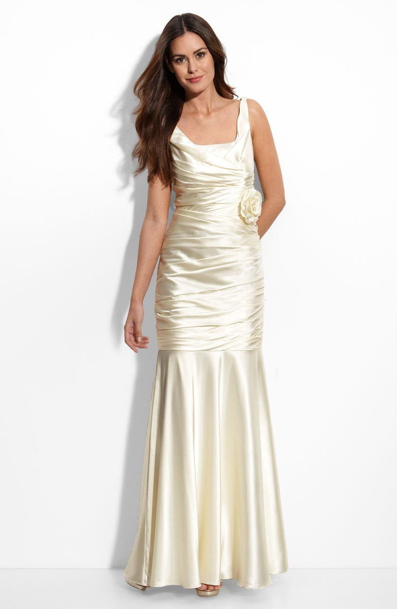 JS COLLECTIONS Cowl Back Stretch Satin Mermaid Gown, Main, color, 900