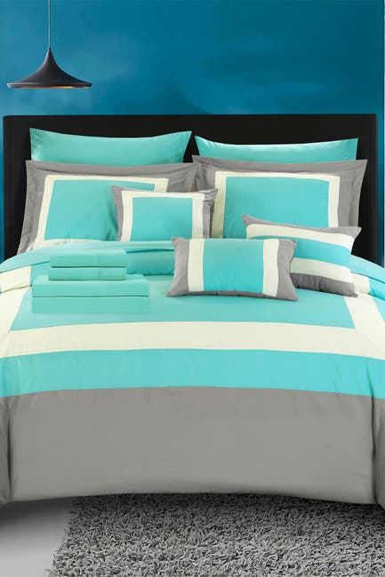 Image of Chic Home Bedding King Dylan Complete Pieced Color Block Bedding Sheets Comforter 10-Piece Set - Turquoise