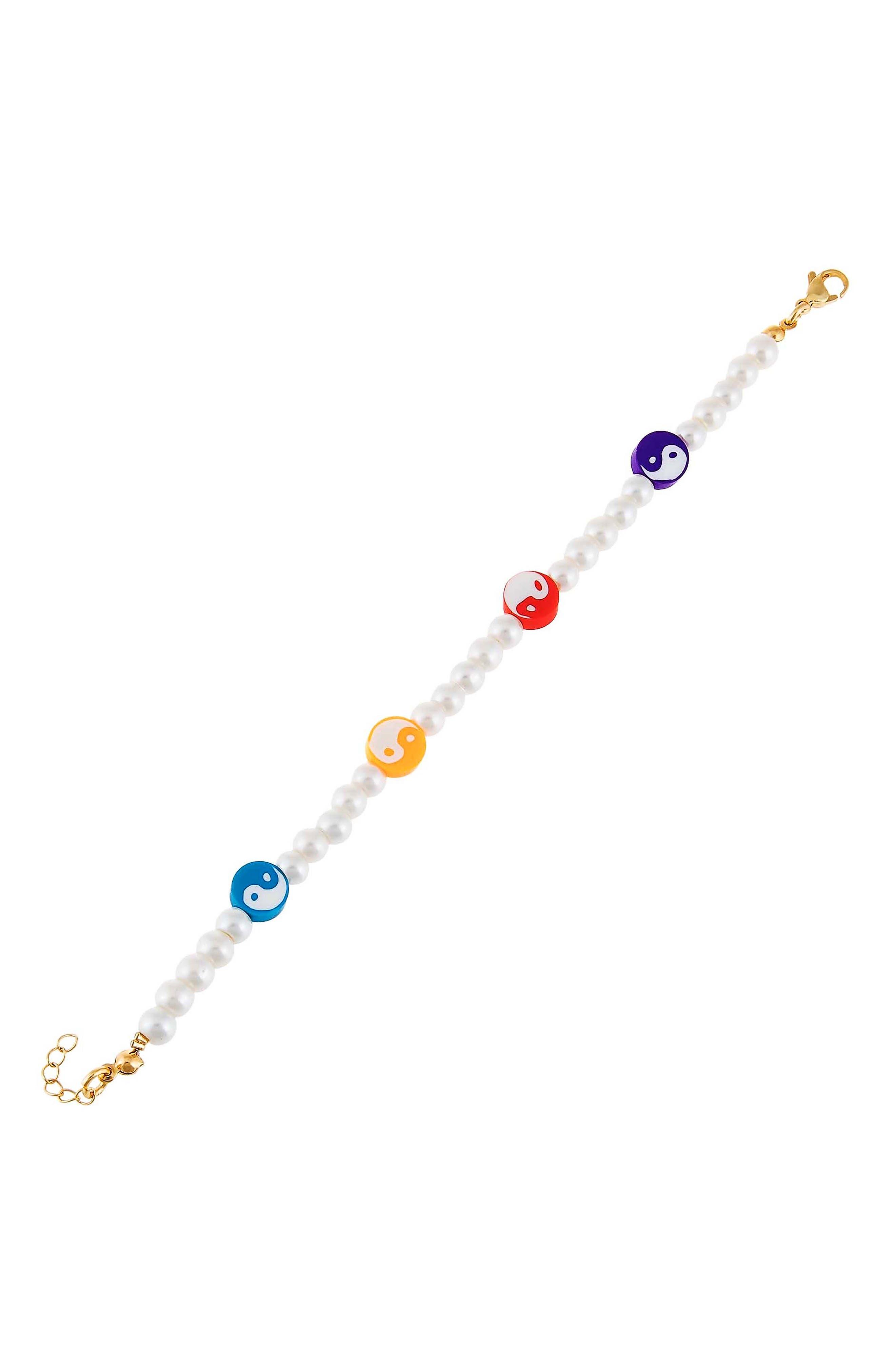 Women's Adina's Jewels Yin Yang Imitation Pearl Bracelet