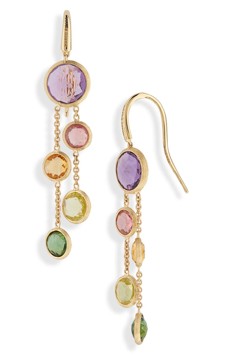 MARCO BICEGO Mixed Stone 2-Strand Earrings, Main, color, YELLOW GOLD/ MULTI