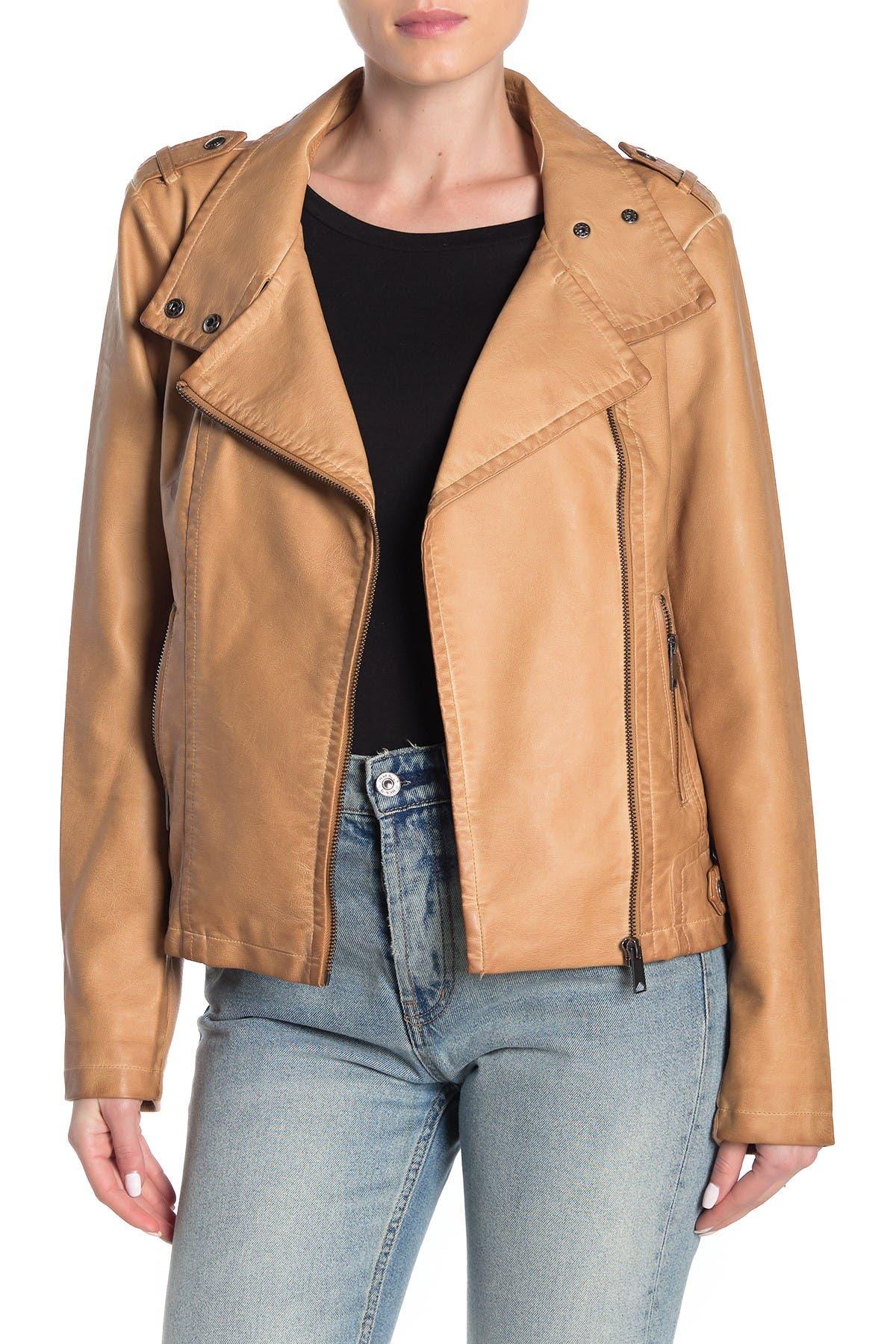 Image of Sebby Asymmetrical Faux Leather Moto Jacket