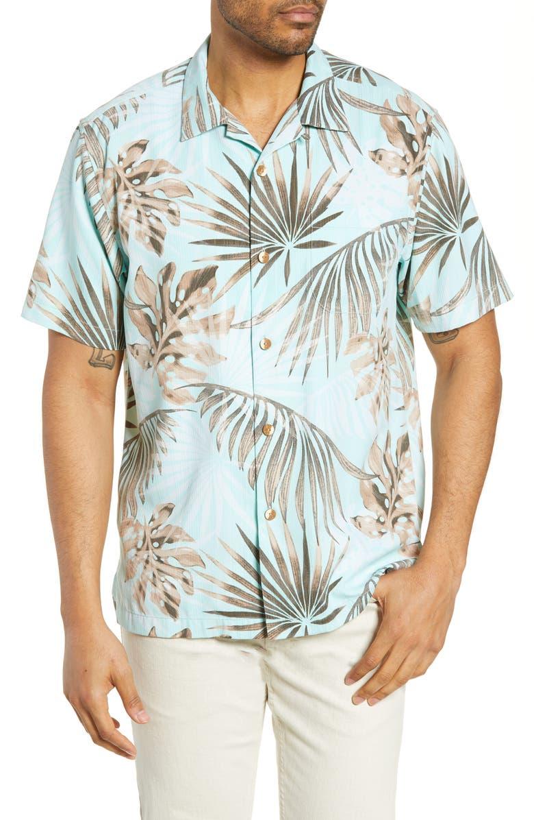 TOMMY BAHAMA Portofino Palms Classic Fit Silk Blend Button-Up Camp Shirt, Main, color, SUMMER AQUA