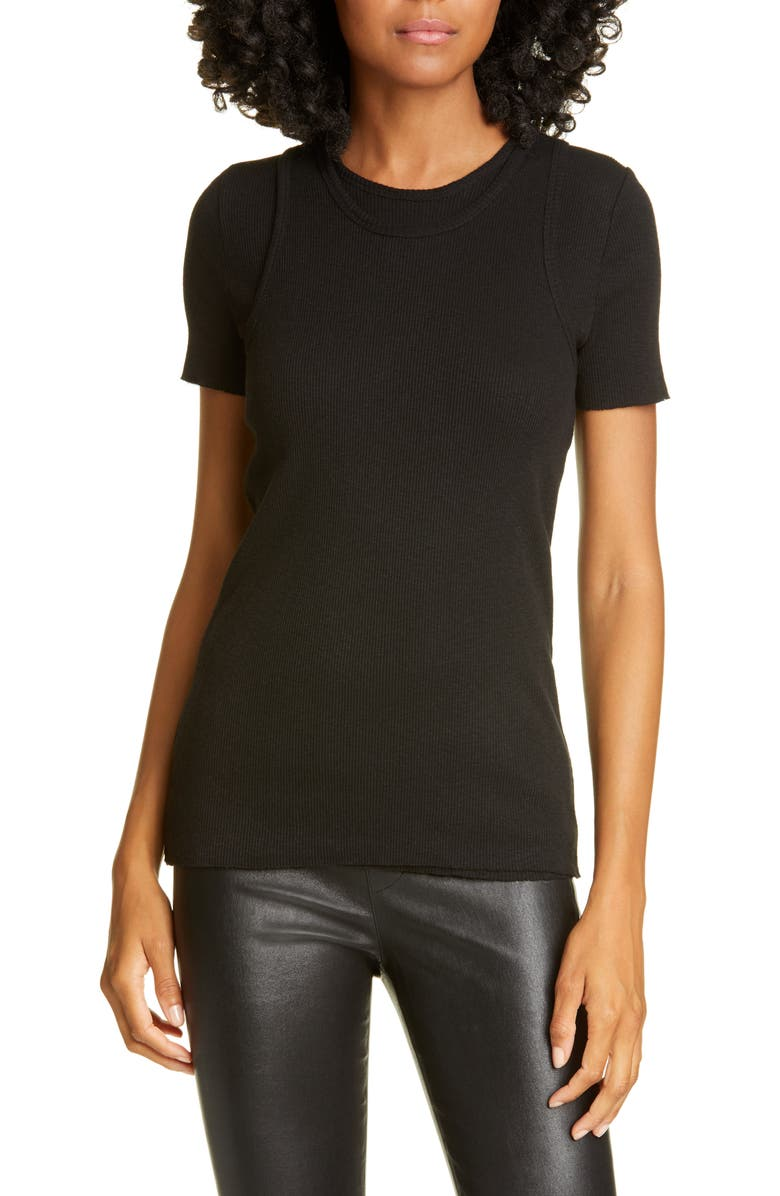 HELMUT LANG Double Layer Ribbed Cotton Tee, Main, color, BLACK