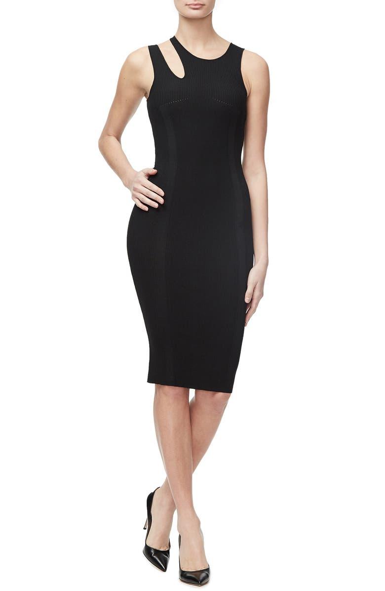 GOOD AMERICAN Slashed Shoulder Detail Sleeveless Tank Dress, Main, color, BLACK001