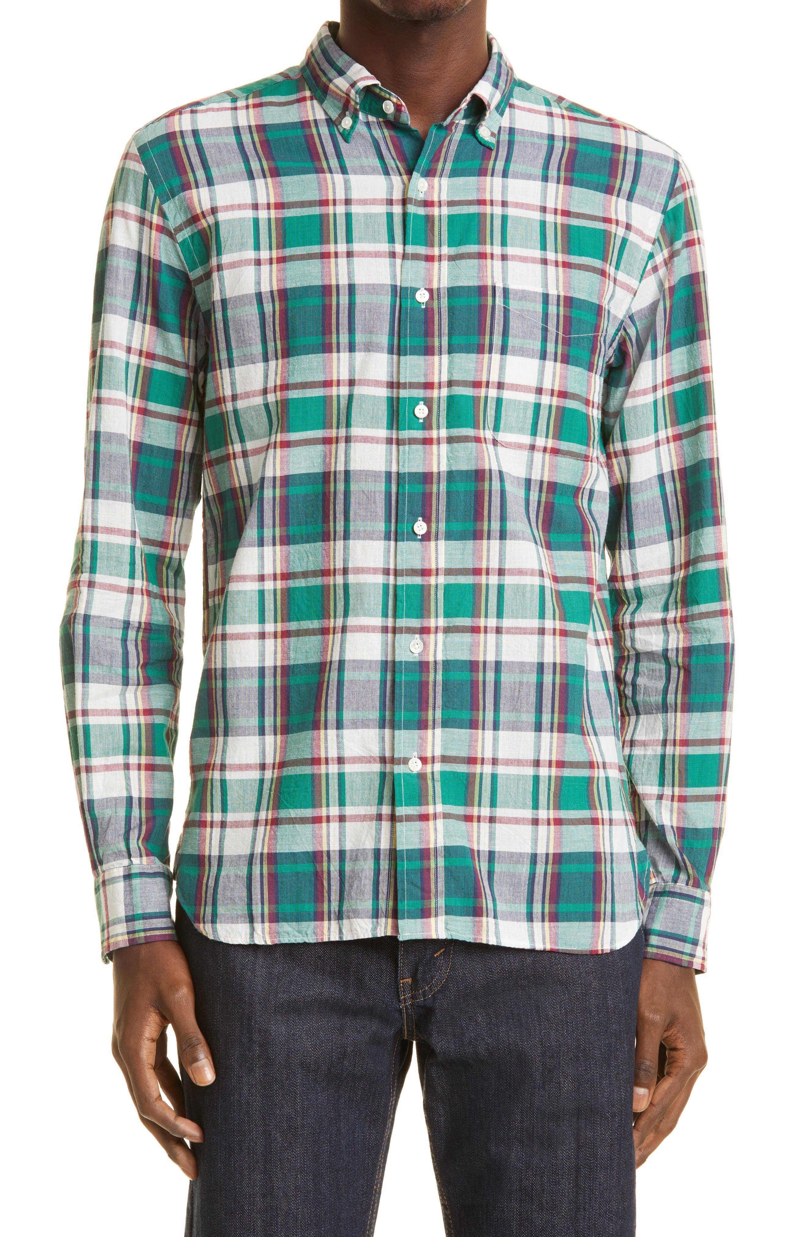 Madras Plaid Button-Down Shirt