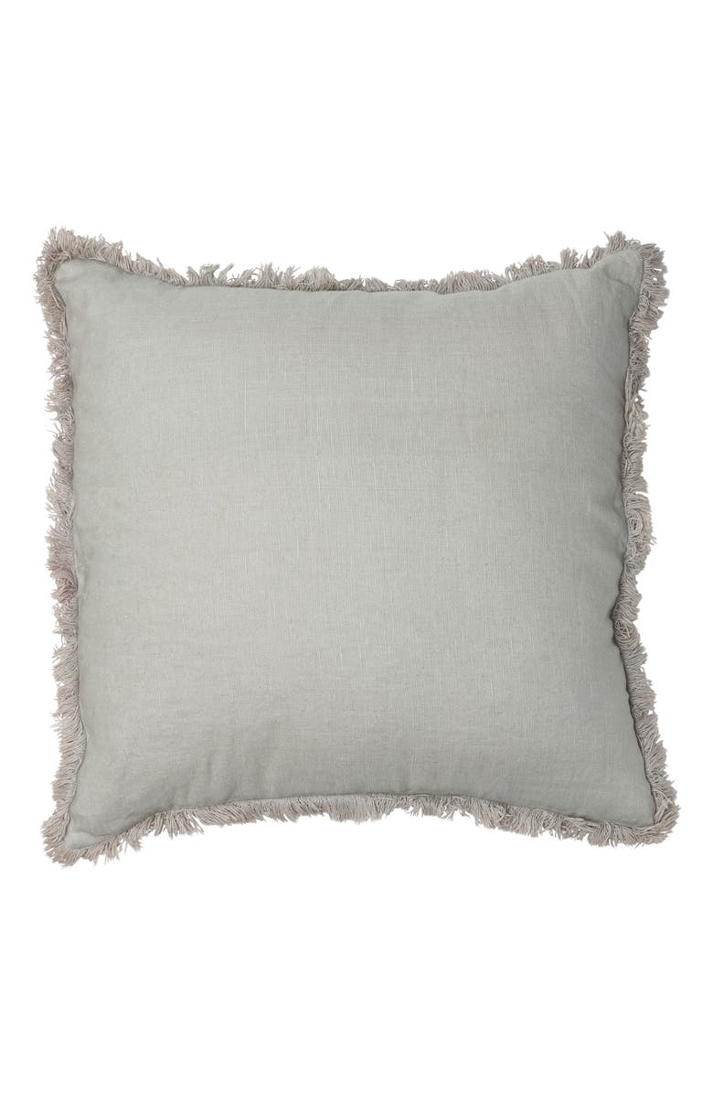 EADIE LIFESTYLE Luca Boho Fringe Linen Accent Pillow, Main, color, SILVER GREY