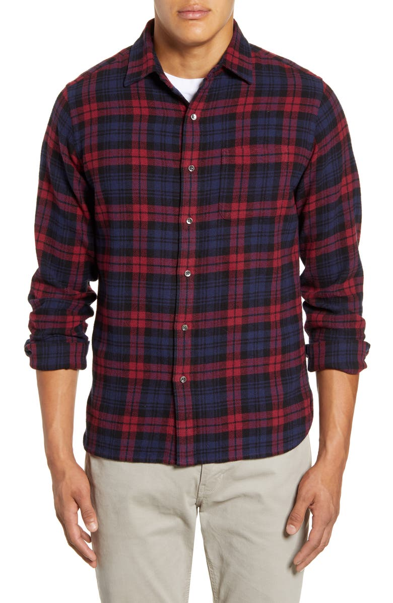 ALEX MILL Easy Slim Fit Plaid Flannel Button-Up Shirt, Main, color, RED/ NAVY