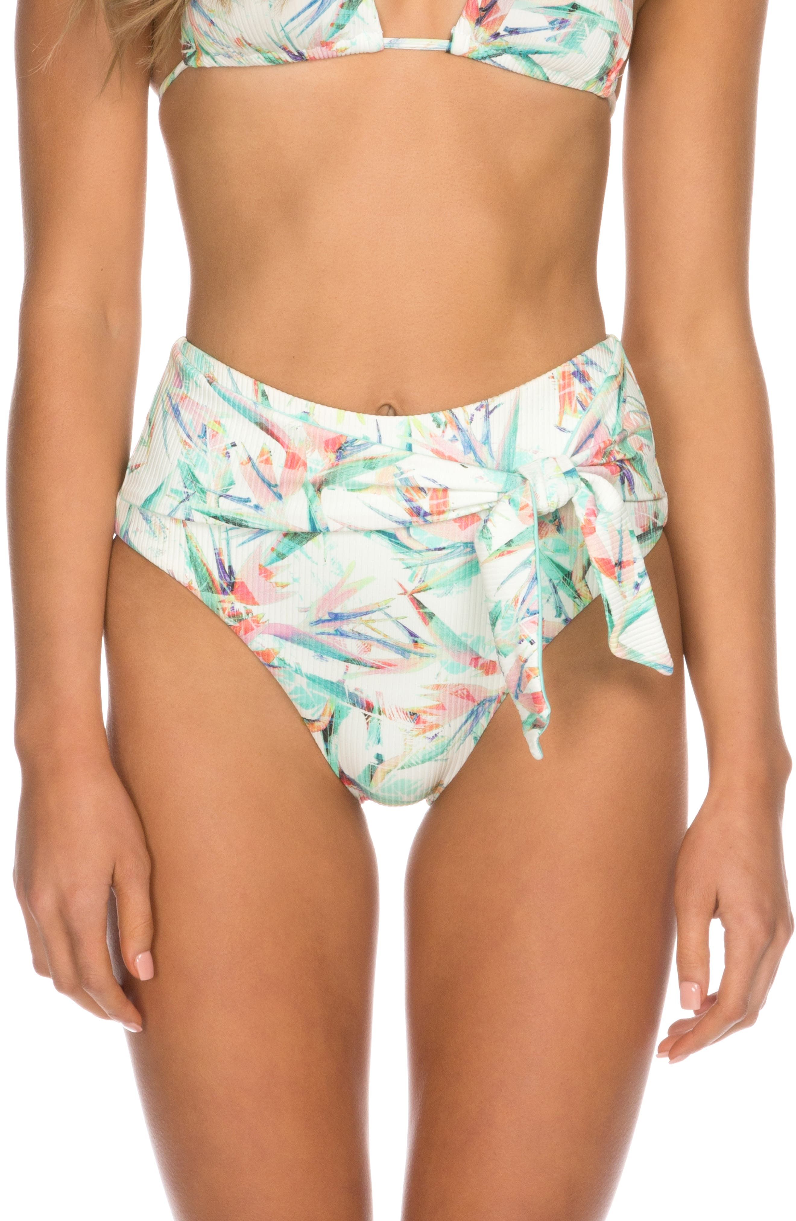Isabella Rose Island Time Print Bikini Bottoms, White