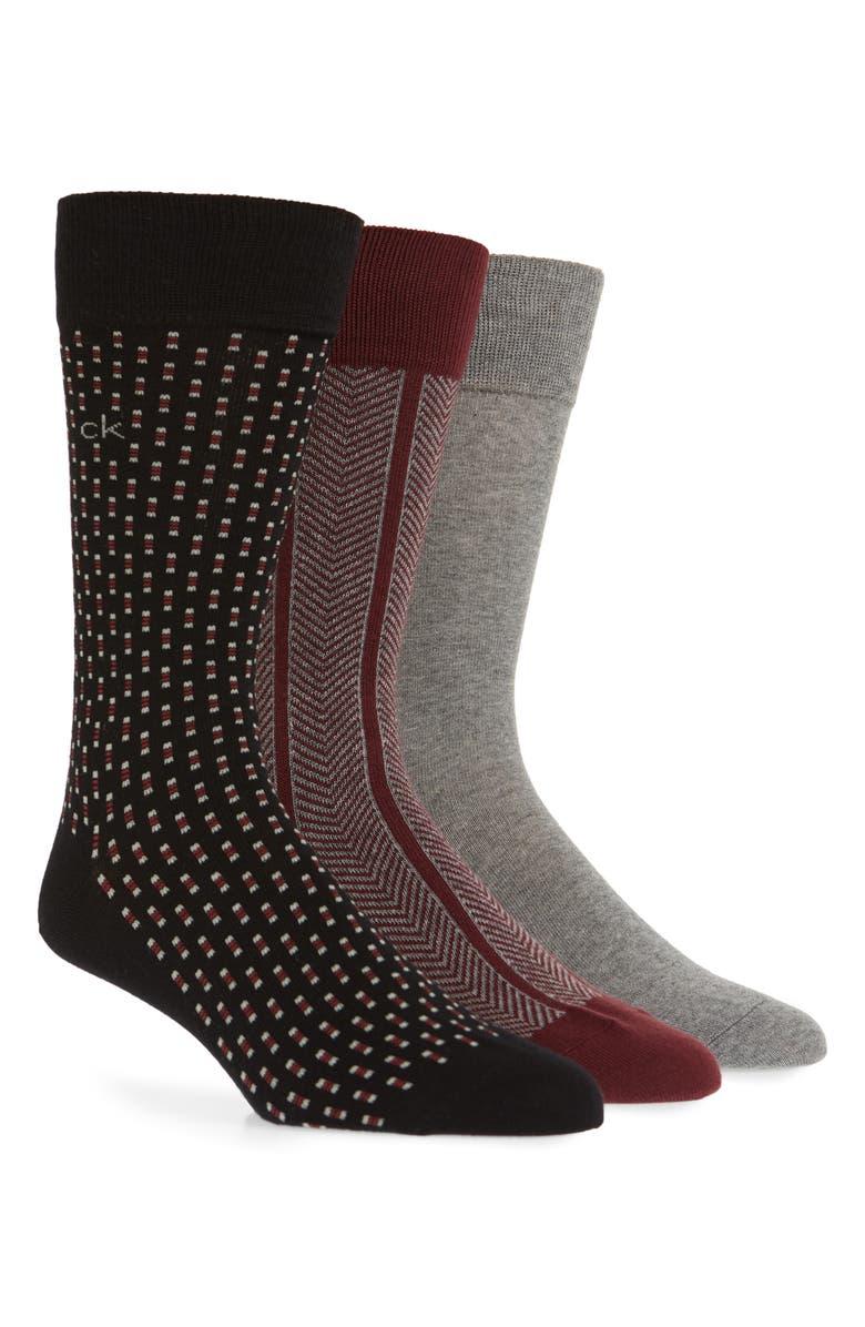 CALVIN KLEIN 3-Pack Cotton Blend Socks, Main, color, GRAPHITE / BLACK/ CHARCOAL