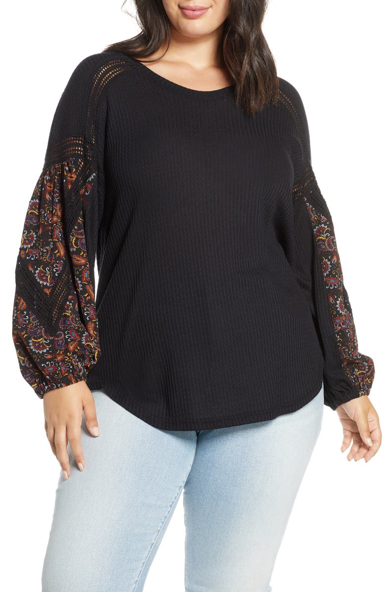 SINGLE THREAD Waffle Print Sleeve Top, Main, color, BLACK