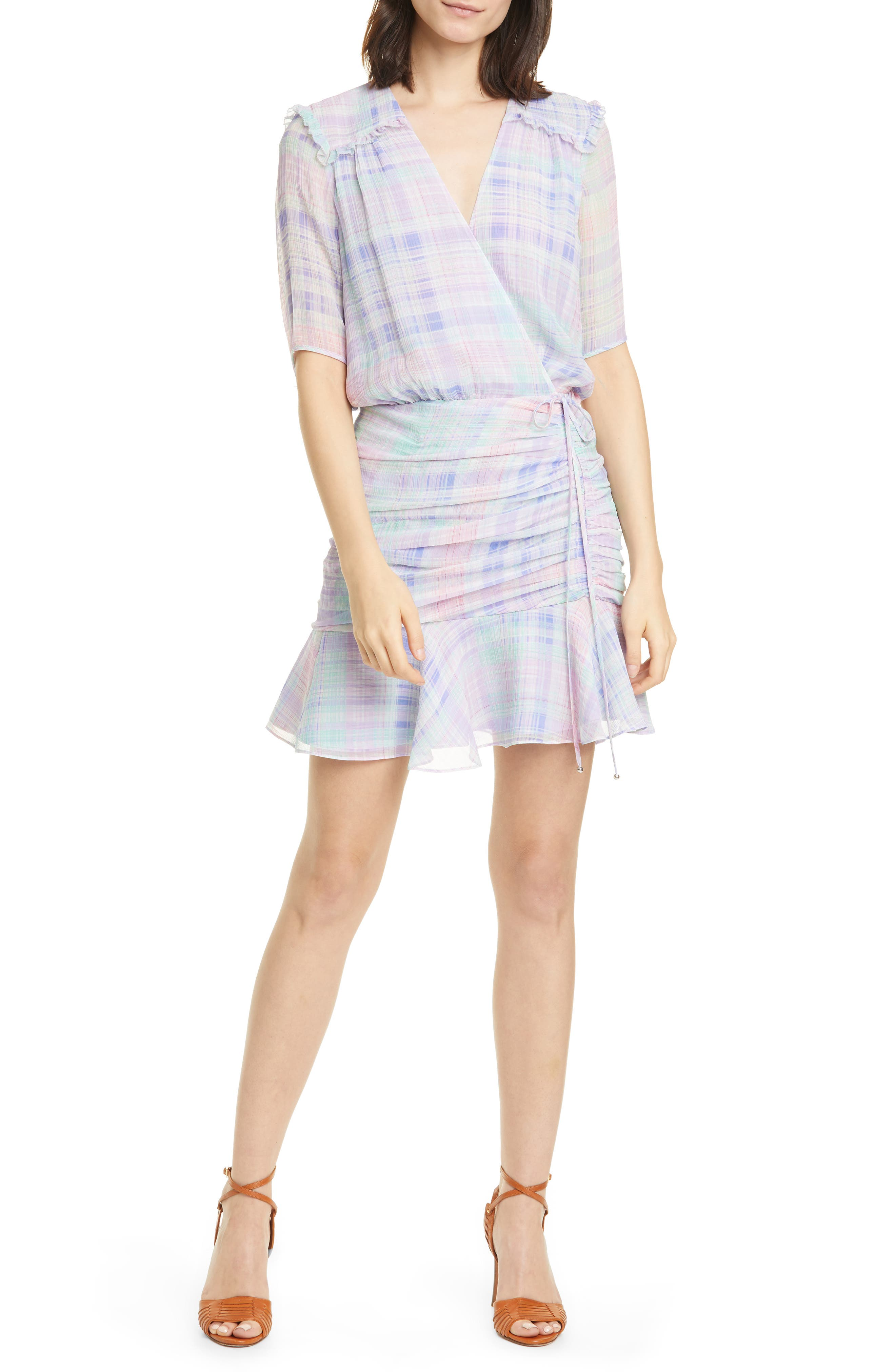 Image of VERONICA BEARD Dakota Plaid Silk Mini Dress