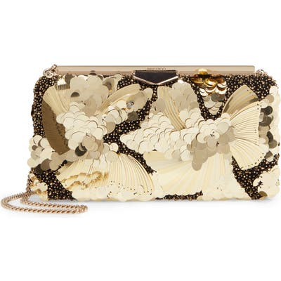 Jimmy Choo Eclipse Floral Embellished Clutch - Metallic