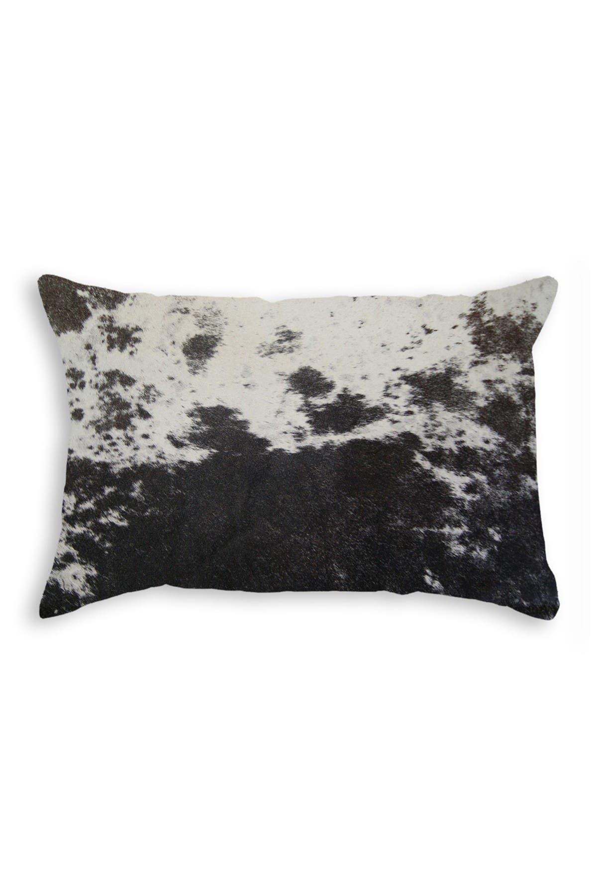 "Image of Natural Torino Genuine Cowhide Pillow - 12""x20"" - Black/White"