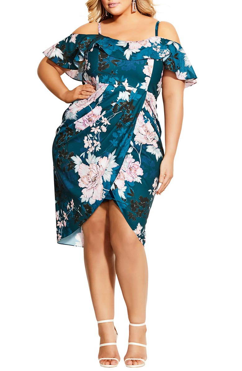 CITY CHIC English Blossom Cold Shoulder Ruffle Sheath Dress, Main, color, JADE BLOSSOM