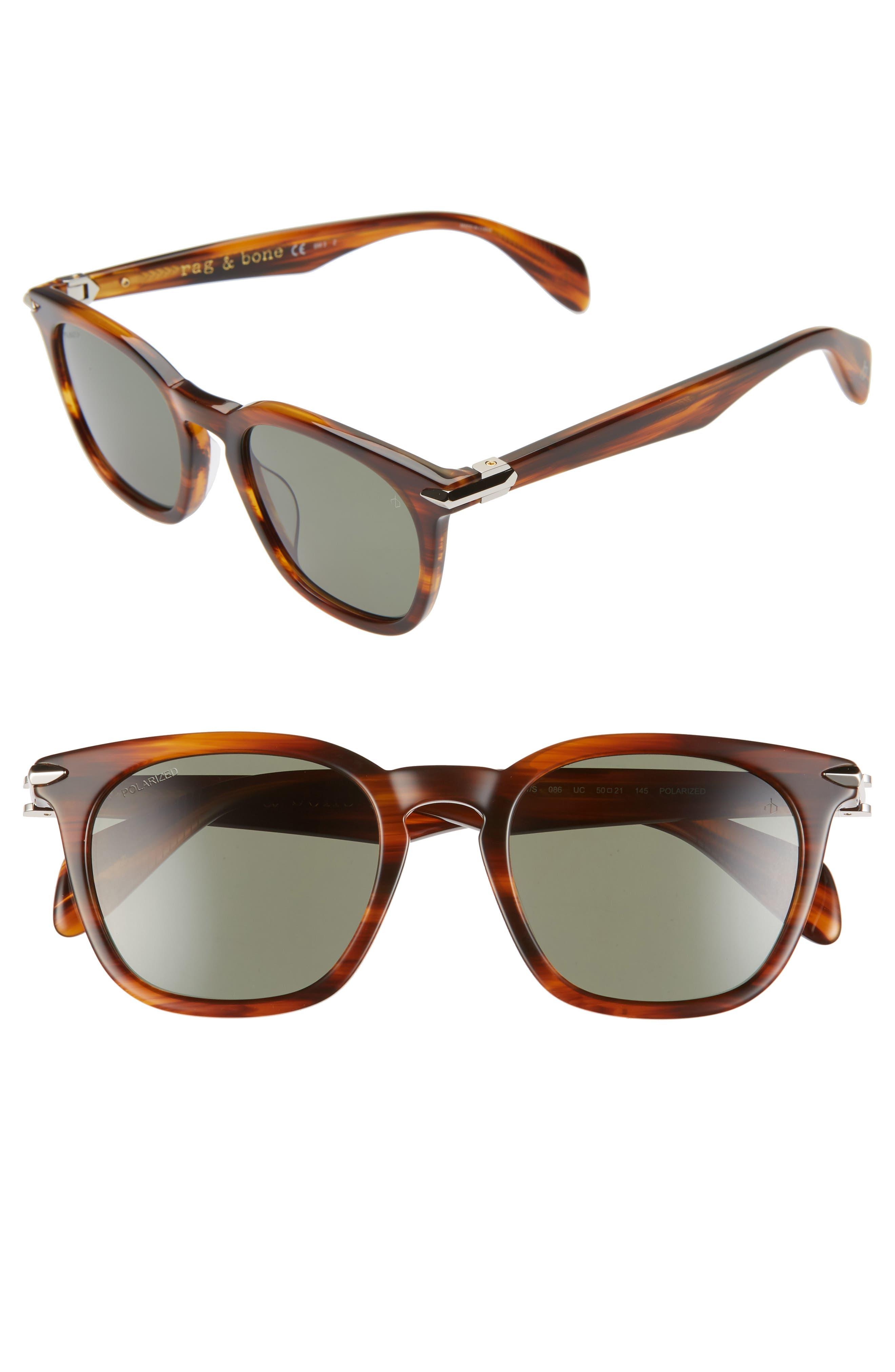 1950 Style Clothing- A Shopping Guide Mens Rag  Bone 50Mm Polarized Sunglasses - Dark Havana $255.00 AT vintagedancer.com