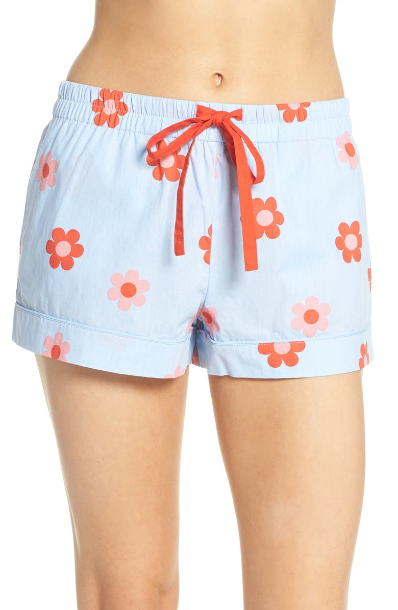 BAN.DO Retro Daisy Sleep Shorts, Main, color, LIGHT BLUE
