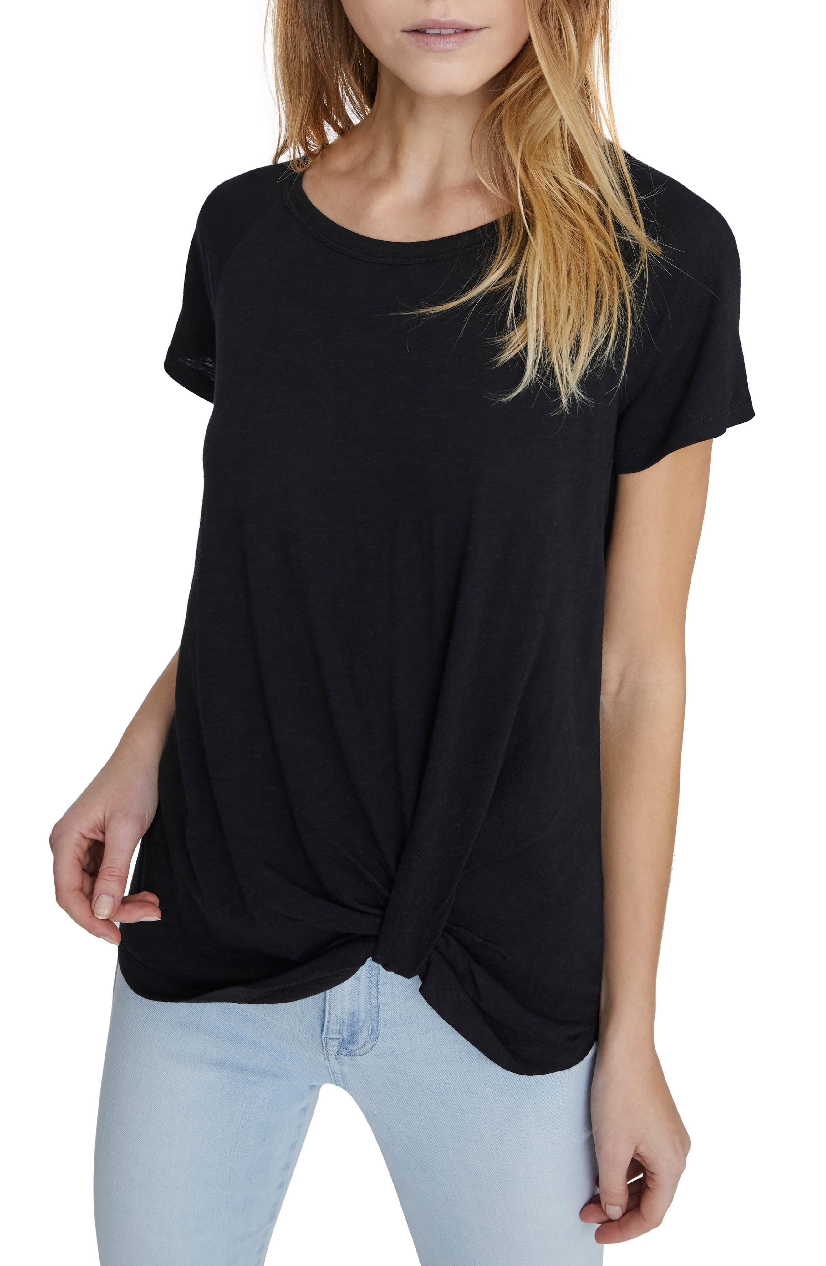 Sunny Days Twist Tee, Main, color, BLACK