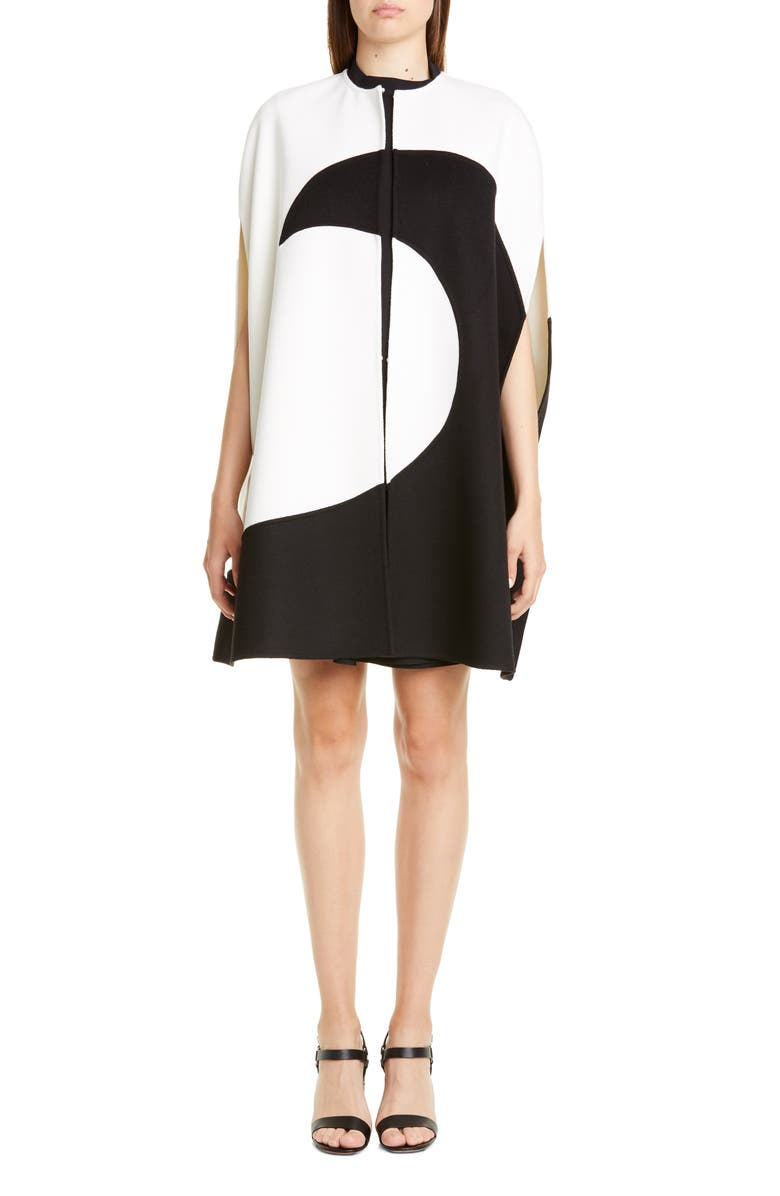 VALENTINO Moon Inlay Wool & Cashmere Cape, Main, color, IVORY BLACK