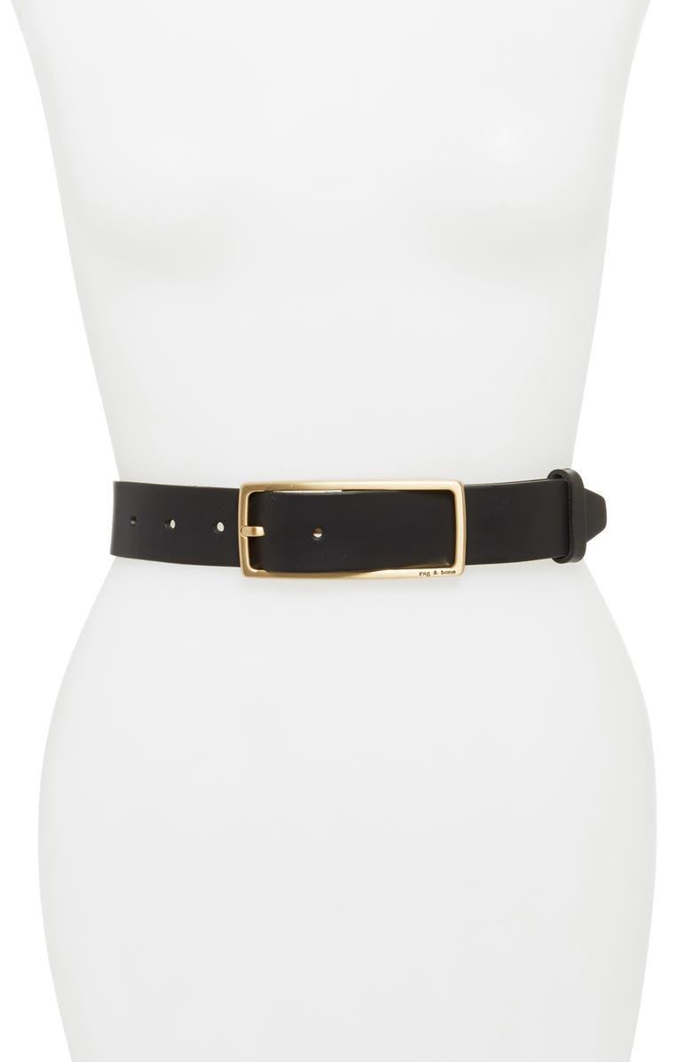 RAG & BONE Rebound Leather Belt, Main, color, BLACK