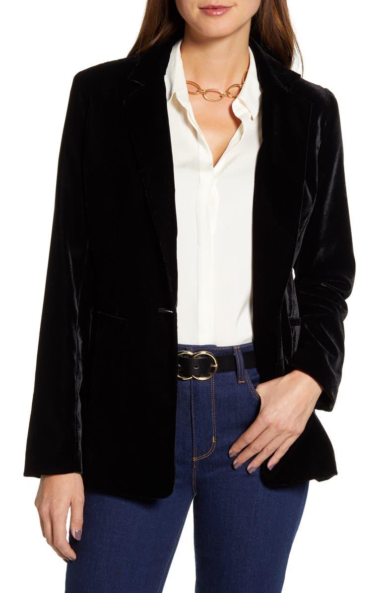 HALOGEN<SUP>®</SUP> Velvet Blazer, Main, color, 001