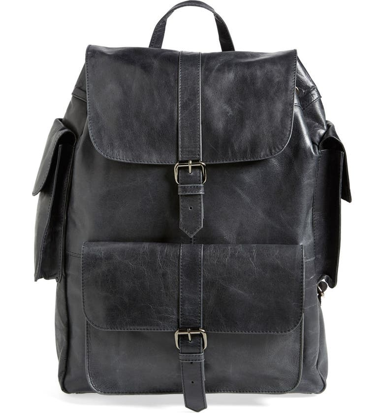 TOPMAN Leather Backpack, Main, color, 001