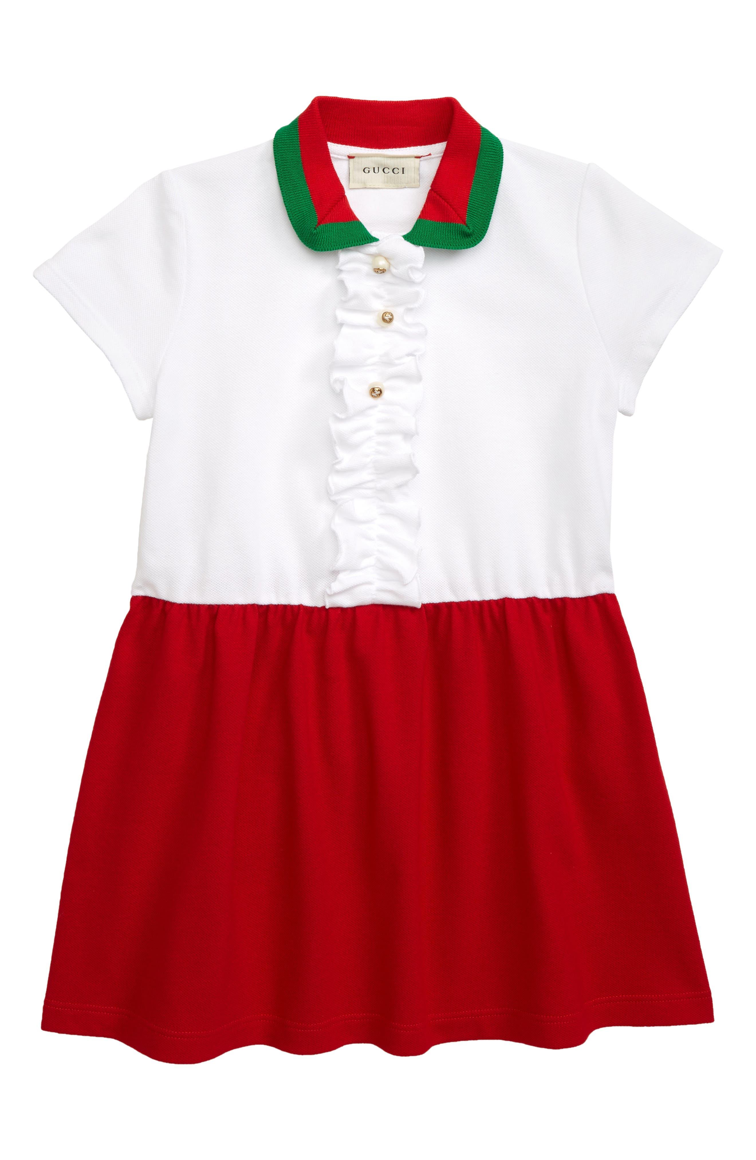 759d3faac Girl's Gucci Colorblock Pique Dress, Y - White