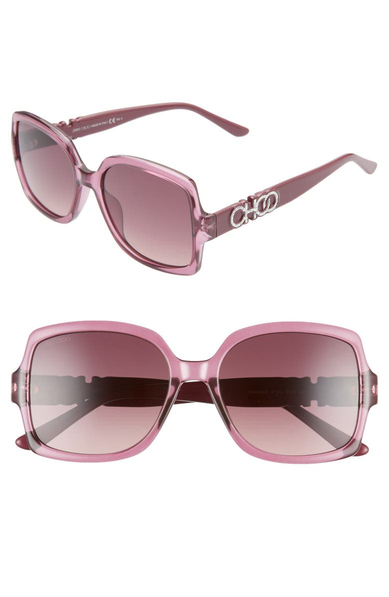 JIMMY CHOO Sammi 55mm Square Sunglasses, Main, color, 600