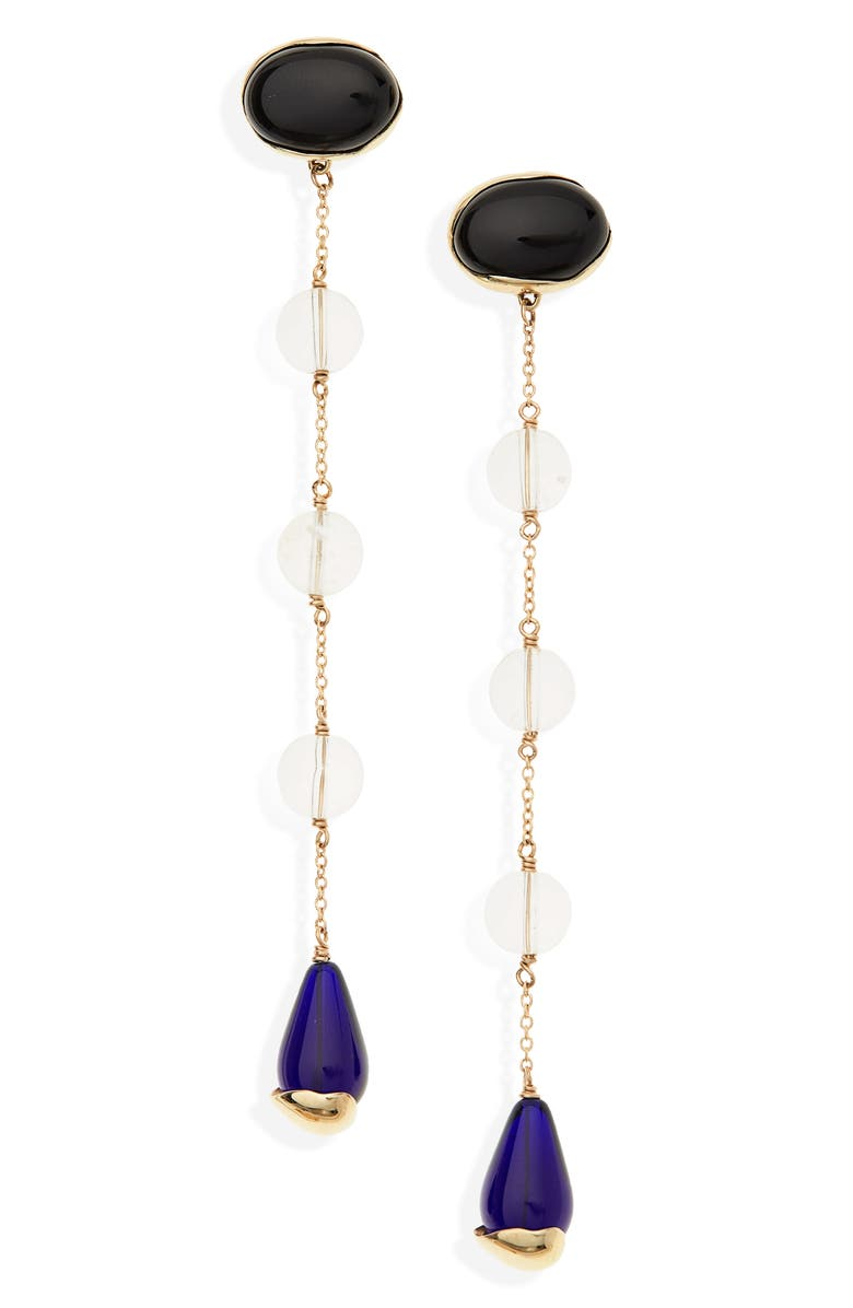FARIS Ovo Sway Linear Drop Earrings, Main, color, BRONZE / LAPIS / QUARTZ / BLUE