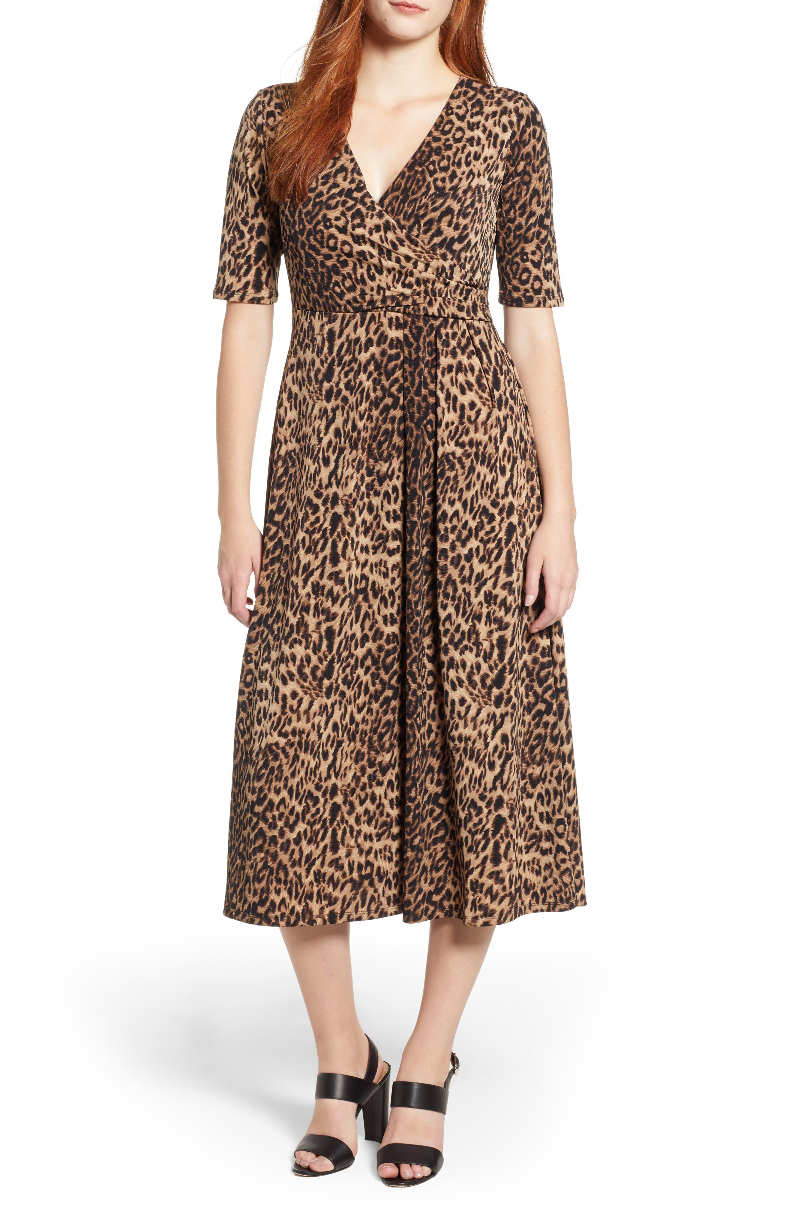 Chaus Leopard Print Faux Wrap Dress, Black
