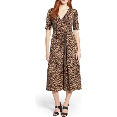 Chaus Leopard Print Faux Wrap Dress, Black
