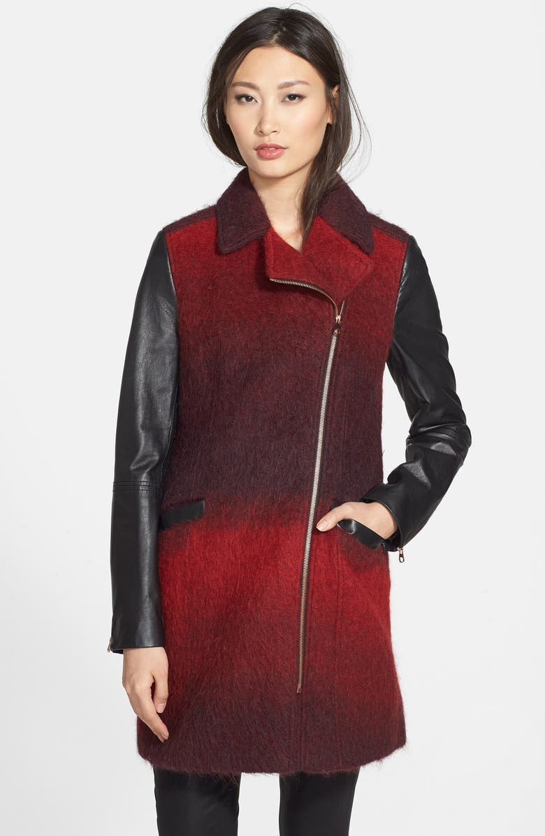 TED BAKER LONDON 'Annamae' Ombré Moto Jacket with Leather Sleeves, Main, color, 802