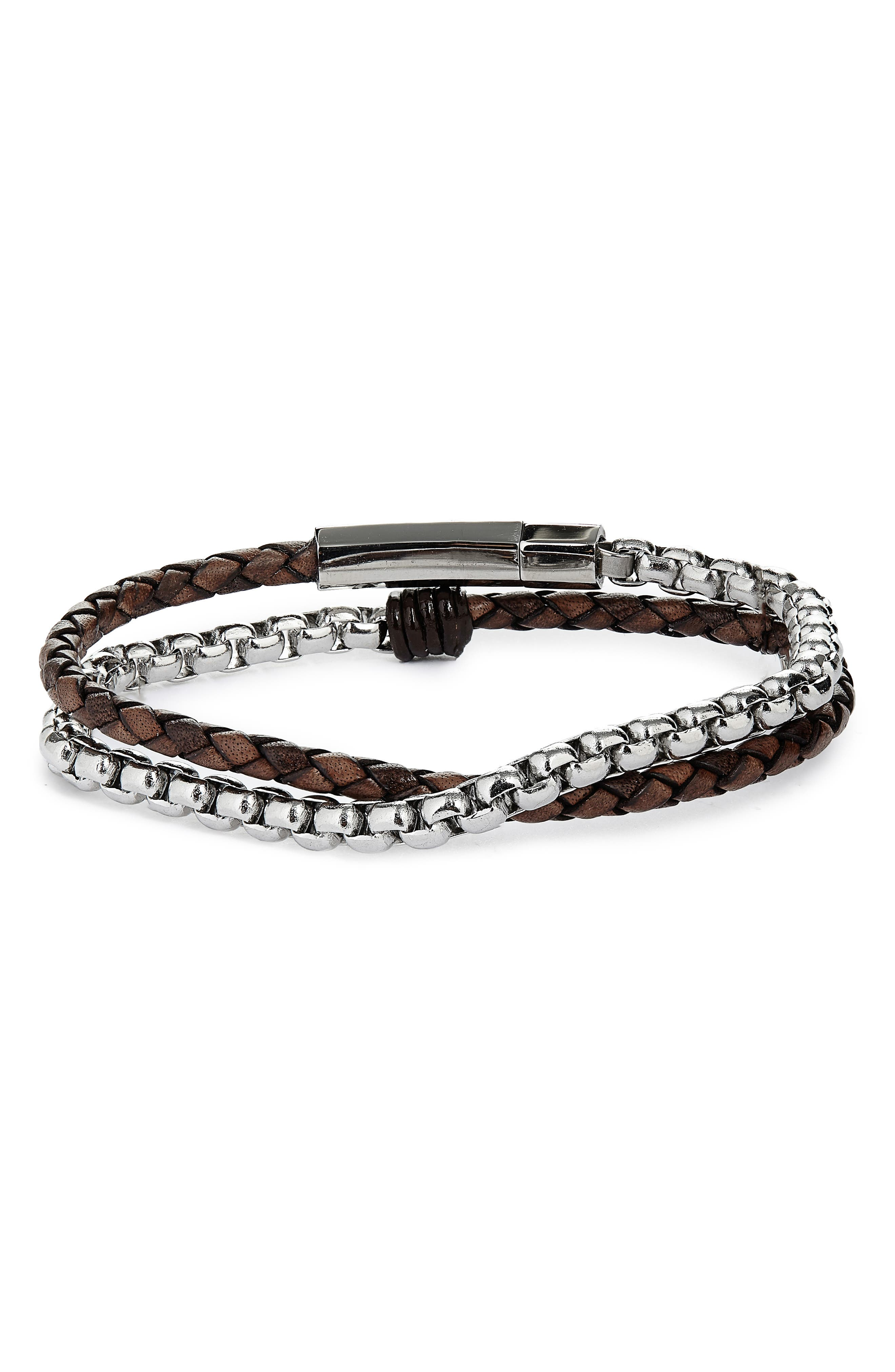 Braided Leather & Chain Double Wrap Bracelet
