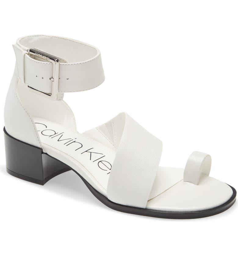 CALVIN KLEIN Pepa Sandal, Main, color, WHITE LEATHER