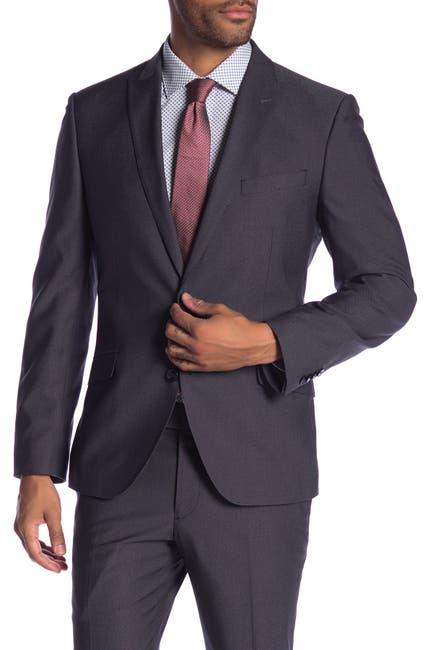 Image of SAVILE ROW CO Lancaster Charcoal Two Button Peak Lapel Slim Fit Suit Separate Jacket