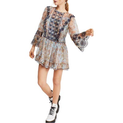 Free People Country Roads Long Sleeve Minidress, Blue