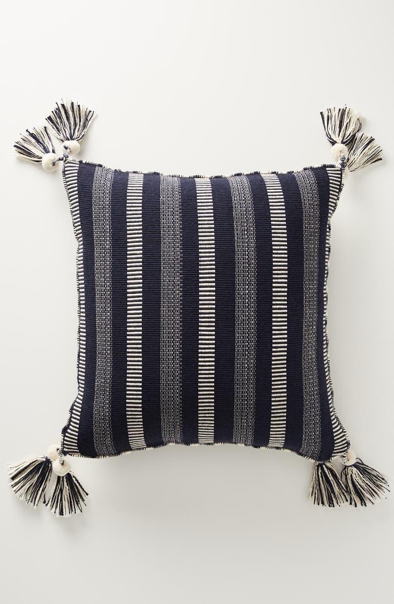 ANTHROPOLOGIE Ramona Stripe Tassel Accent Pillow, Main, color, 800