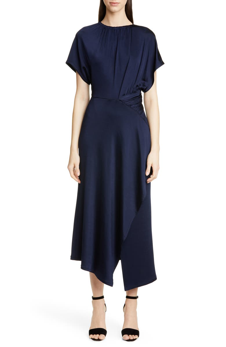 YIGAL AZROUËL Shirred Waist Asymmetrical Jersey Midi Dress, Main, color, MIDNIGHT