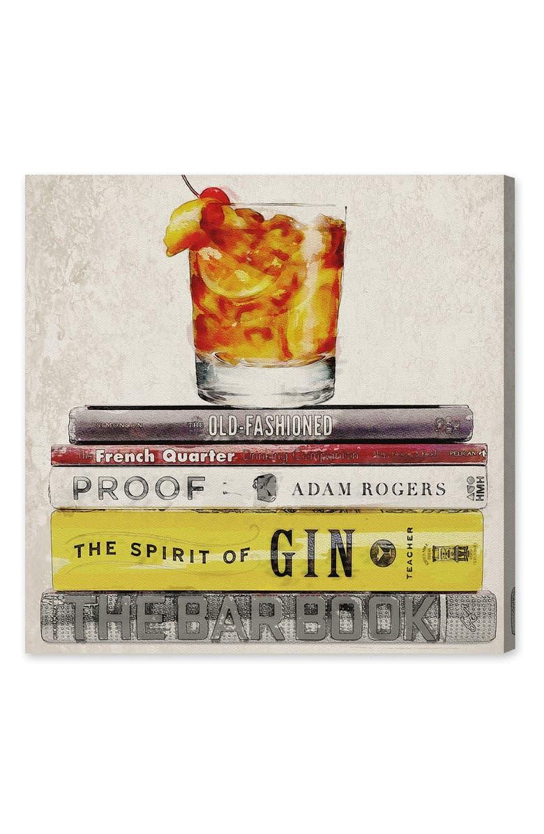 OLIVER GAL Bar Books Canvas Wall Art, Main, color, ORANGE