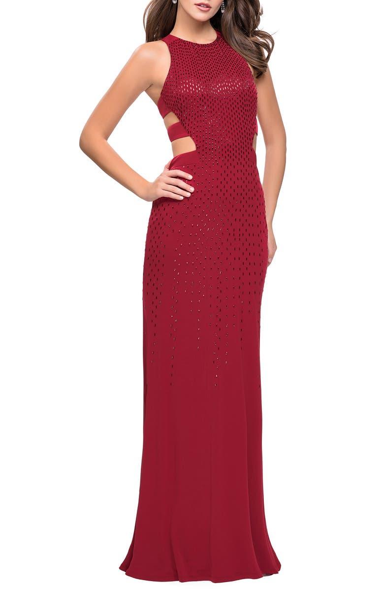 LA FEMME Cutout Embellished Jersey Gown, Main, color, CRIMSON