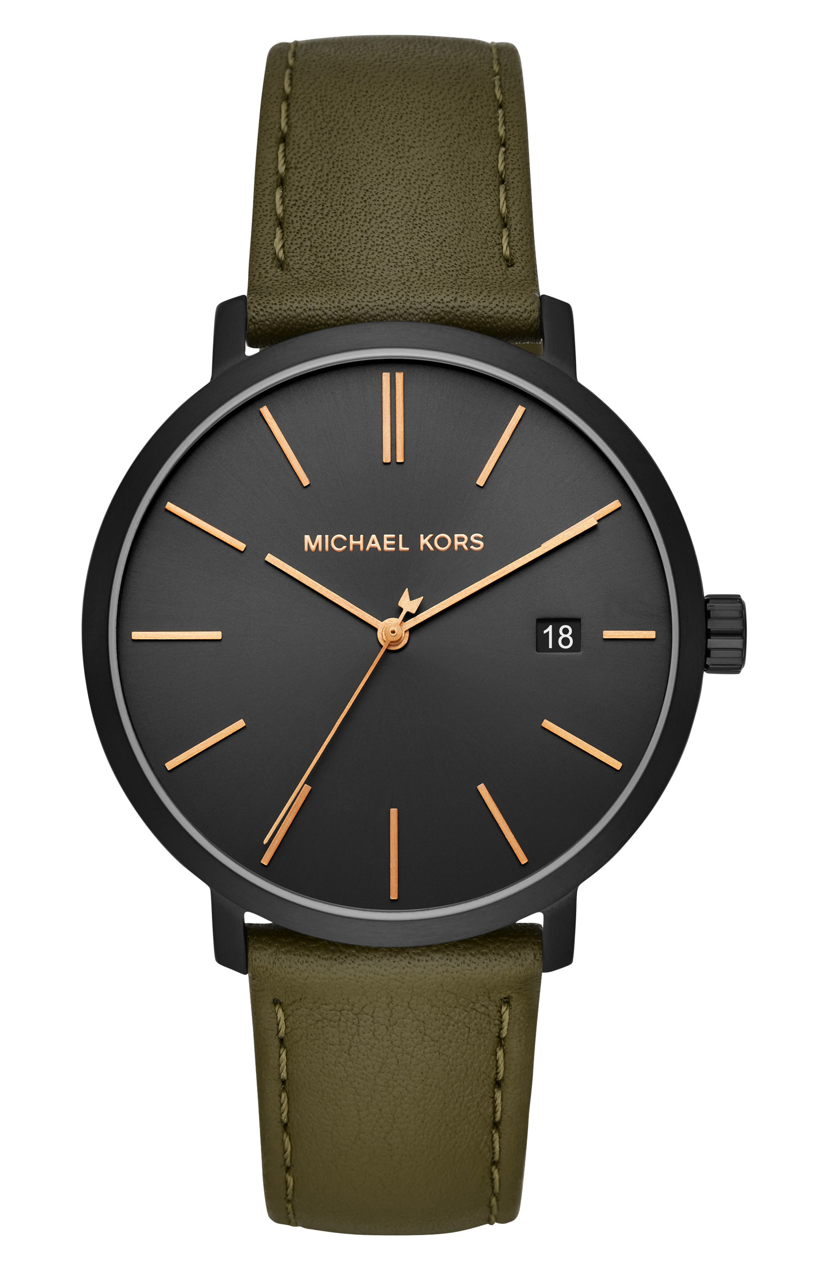Blake Leather Strap Watch, 42mm, Main, color, OLIVE/ BLACK