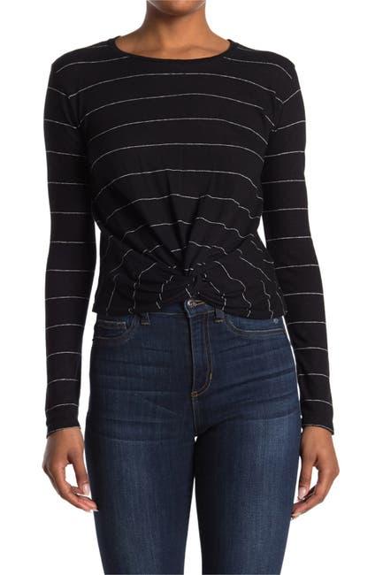 Image of ALLSAINTS Carme Striped Long Sleeve Twist Crop T-Shirt
