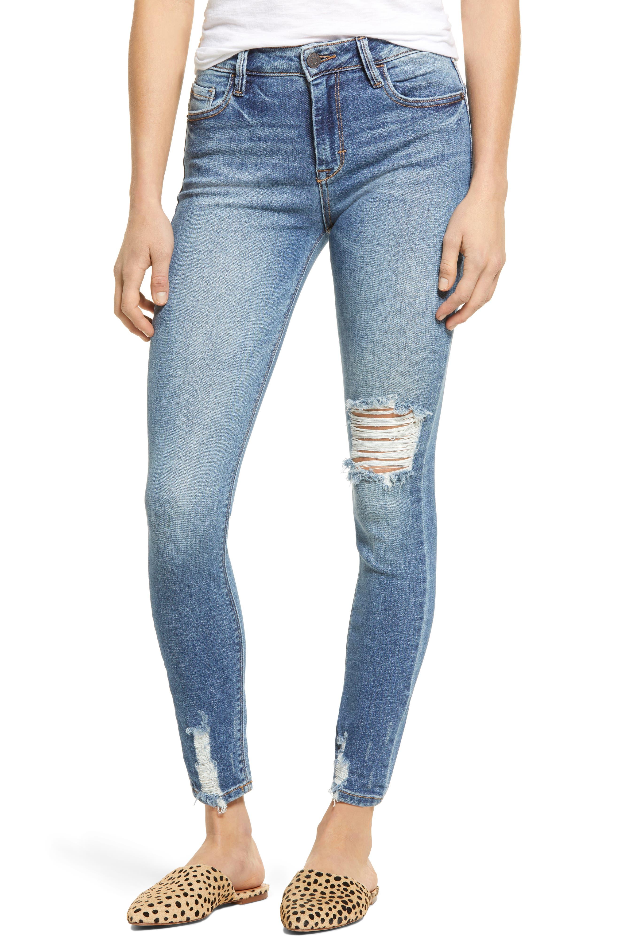 Grinded Hem Ankle Skinny Jeans